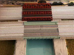 川と橋(Nゲージのジオラマ)