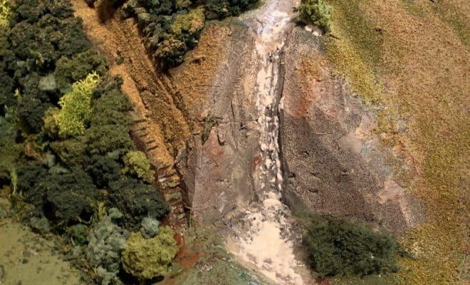 池と川と山肌と地面作り Nゲージのジオラマ作成
